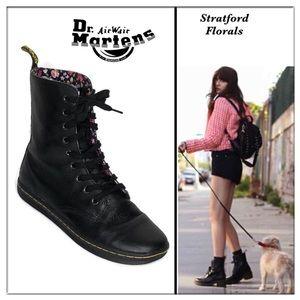 Dr. Martens Black Stratford Floral combat boots